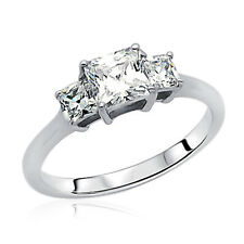 Women 6.5mm Rhodium Plated Silver Band Princess CZ Three Stone Engagement Ring