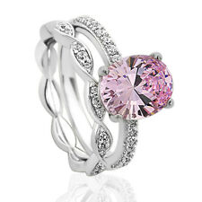 Women 10mm Platinum Plated Silver 2.5ct Pink Oval CZ Engagement Ring set