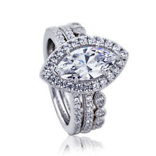 Women 16mm Platinum Plate Silver 1.5ct Marquise CZ Engagement Bridal Ring Set