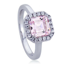 Women 10mm Platinum Plated Sterling Silver 2ct Square Pink CZ Engagement Ring