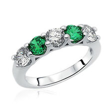 Women 3.5mm Rhodium Plated Silver Ring CZ Five Stone Green Anniversary Band