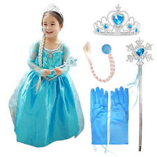 Elsa-Frozen Inspired Fancy Dress Party Costume+ Accessories Gloves-Wand-Tiara*