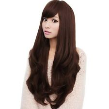 SA Women's Long Dark Brown Curly Wavy Full Wigs Party Hair Cosplay Wig