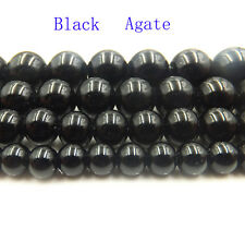 """Black Agate Jewelry Making Natural Gemstone Round Spacer Loose Beads 15"""" Strand"""