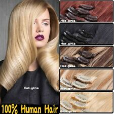 7pc 15/18/20/22 inches 100% Human Hair Extensions Clip In Full Head 70g US HQ476