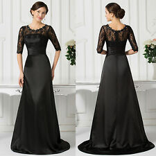 Half Sleeve Lace Formal Ball Gown  Full-Length Evening Prom Party Dress 8 Size -