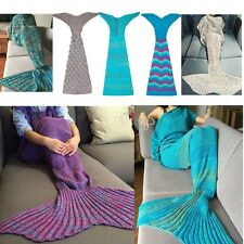 Handmade Crochet Mermaid Tail Soft Blanket Coccon Throw Knit Lapghan Quilt Rug
