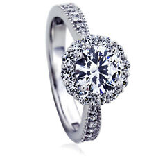 Women 9.5mm 14K White Gold 1 ct CZ Halo Solitaire Wedding Engagement Ring