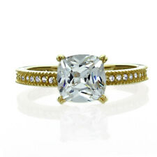 Women Fine band 14K Gold 1.25ct Cushion Cut CZ Solitaire Wedding Engagement Ring