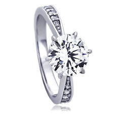 Women Fine band 14K White Gold 2ct CZ 6 Prong Classic Solitaire Engagement Ring