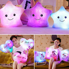 LED Bright Light Up Glowing Pillow Soft Cushion Star Love Heart Home Sofa Decor