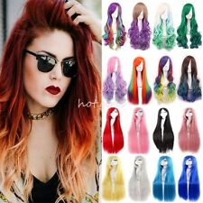 100% Long Hair Wig Curly Straight Synthetic Anime Cosplay Party Full Wigs UK #LW