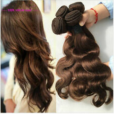 3 Bundles #4 Brown Body Wave Brazilian Human Hair Extensions Weave Weft 150g all