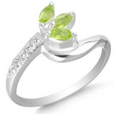 Peridot Hydro Quartz 925 Sterling Silver Plated Women Ring Size M mm25169
