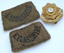 2 Authentic WW2 army military East Yorkshire Regt cloth epaulettes + cap badge