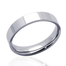 Men Women 14K White Gold 5mm Plain Flat Wedding Band Right Hand Ring / Gift Box