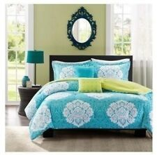 NEW Twin XL Full Queen King Bed 5 pc Teal Blue Green White Damask Comforter Set