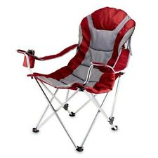 Picnic Time Portable Reclining Camp Chair, Red/Grey