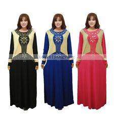 Muslim Women Plus Hot Drill Kaftan Islamic Maxi Dress Arab Jilbab Abaya Clothes