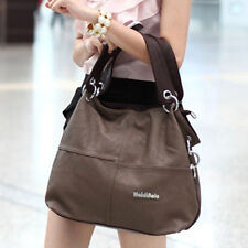 New Womens Ladies PU Leather Zip Plain Casual Shopping Handbag Shoulder Tote Bag