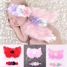 Newborn Baby Wing+Flower Headband Costume Photo Photography Prop Outfit Set