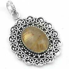 925 Sterling Silver Overlay Golden Rutilated Quartz Mordern Pendant cg16556