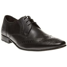 New Mens Base London Black Alexander Leather Shoes Brogue Lace Up