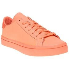 New Womens adidas Pink Orange Court Vantage Adicolour Synthetic Trainers Shoes