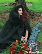 Gothic Victorian Ghost Cape Halloween Satin Organza Black White Costume Hooded