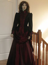 LADIES VICTORIAN / STEAMPUNK BUSTLE SKIRT OUTFIT / DRESS / COSTUME (BLACK & RED)