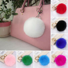 Soft Cute Faux Fox Fur Ball PomPom Cell Phone Car Pendant Handbag Key Chain Ring