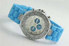 Women Geneva Fashion Crystal Dial Jelly Silicone Band Quartz Ladies Wrist Watch