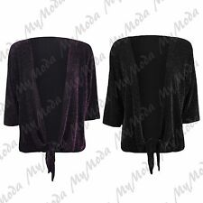Ladies Womens 3/4 Sleeve Lurex Sparkly Tie Up Cardigan Shrug Top Plus Size 14-28