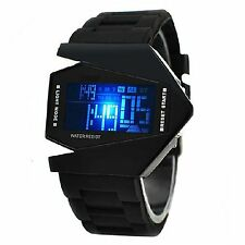 Cool Military Stealth Fighter LED Digital Date Day Waterproof Sport Wrist Watch