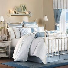 Luxury White Blue Quilted Comforter with Bed Skirt & Pillow Shams