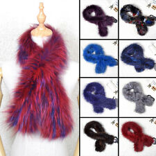 Women Real Kintted Fox Fur Scarf Shawl Collar Stole Cape Winter Scarf Wrap