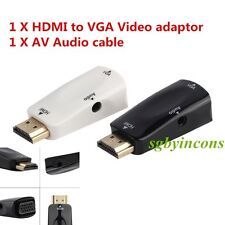 1x HDMI Male To VGA Female Converter Box Adapter With Audio Cable For PC HDTV HA