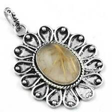 Golden Rutilated Quartz Best Seller Pendant 925 Sterling Silver Plated cg94675