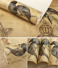 Vintage French Country Realistic Bird Birdcage Roll Sand Yellow Wallpaper QY6386