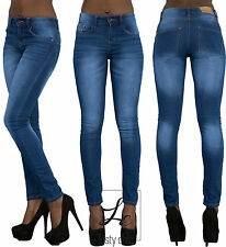 WOMENS BLUE SKINNY  JEANS FADED SLIM FIT LADIES SLIM FIT  DENIM SIZES 6 TO 18