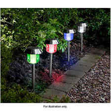 4x Stainless Steel Solar Powered White LED & Colour Changing Garden Post Lights