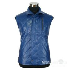 Mens leather jacket Quilted Padded Puffer Vest Motorbike Banana Republic Gents
