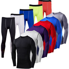 New Men Sports Apparel Skin Tights Compression Base Under Layer Long Pants Shirt