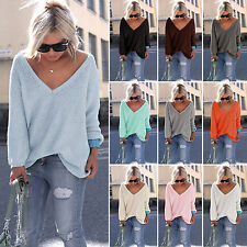 Women's Oversized V Neck Long Sleeve Loose Knitted Sweater Pullover Jumper Tops