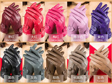 Winter Women's Warm Genuine Lambskin Leather Driving Fur Lining Gloves 9Color