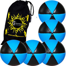 ASTRIX Pro Thud UV Juggling Balls - Set of 5 juggling balls + Bag (BLUE)