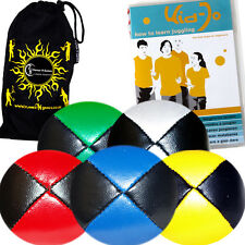 Pro Thud Juggling Balls Set of 5 - Leather juggling Ball set + Tricks DVD & Bag