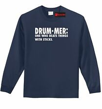 Drummer One Who Beats Things Sticks Funny LNG SLV T Shirt Band Music Gift Tee Z1