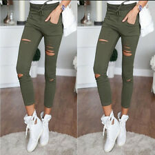Trendy Women Ripped Hole Long Cotton Stretchy Skinny Slim Leggings Pants S-XL