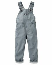 New OshKosh Boy Dino Schiffli Gray Canvas Overalls NWT 24m 3t 4t 5t Jersey Lined